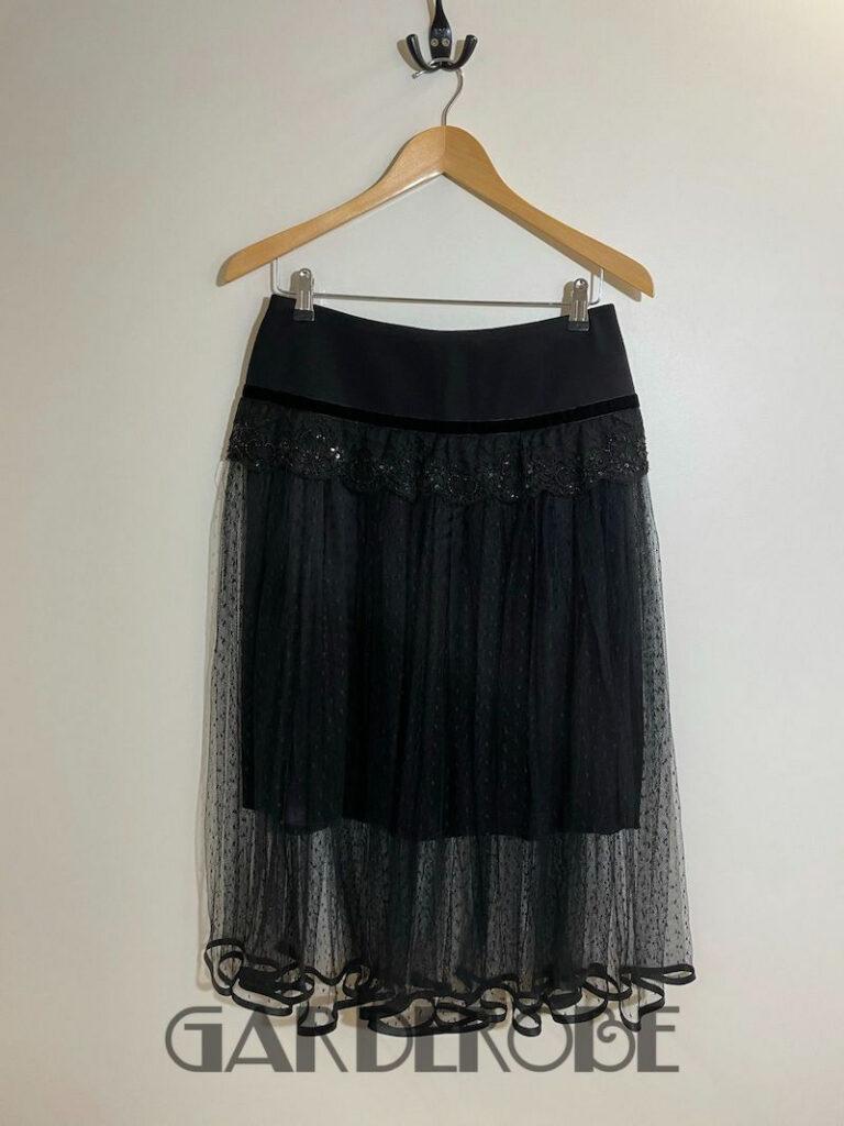 Feestelijke zwarte rok met kant