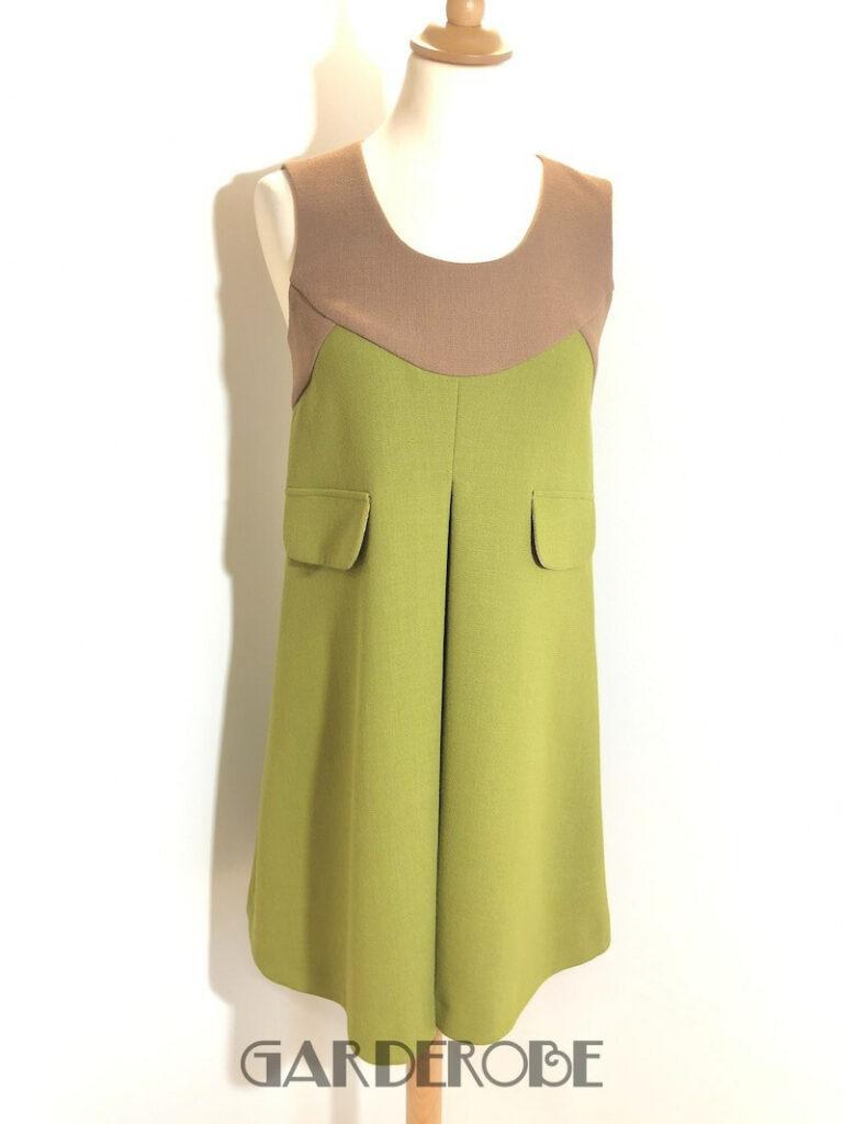 Groen & taupe sixties stijl jurkje Erika Cavallini