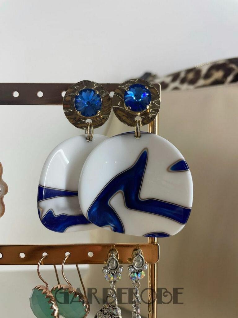Grote blauwe Paviè oorringen