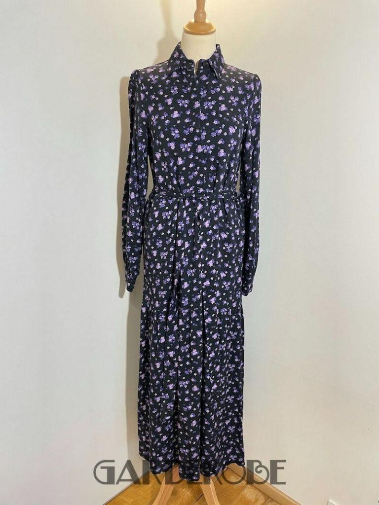 Lange jurk met paarse bloemetjes Liv the Label
