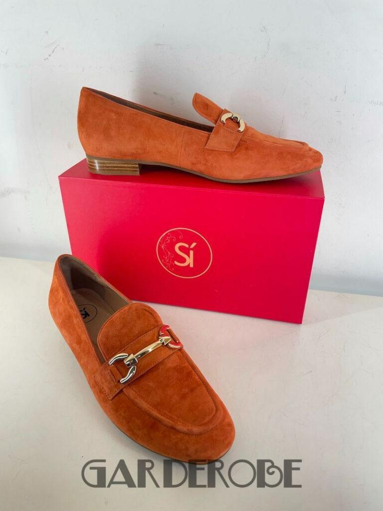 Nieuwe oranje daim loafer Si