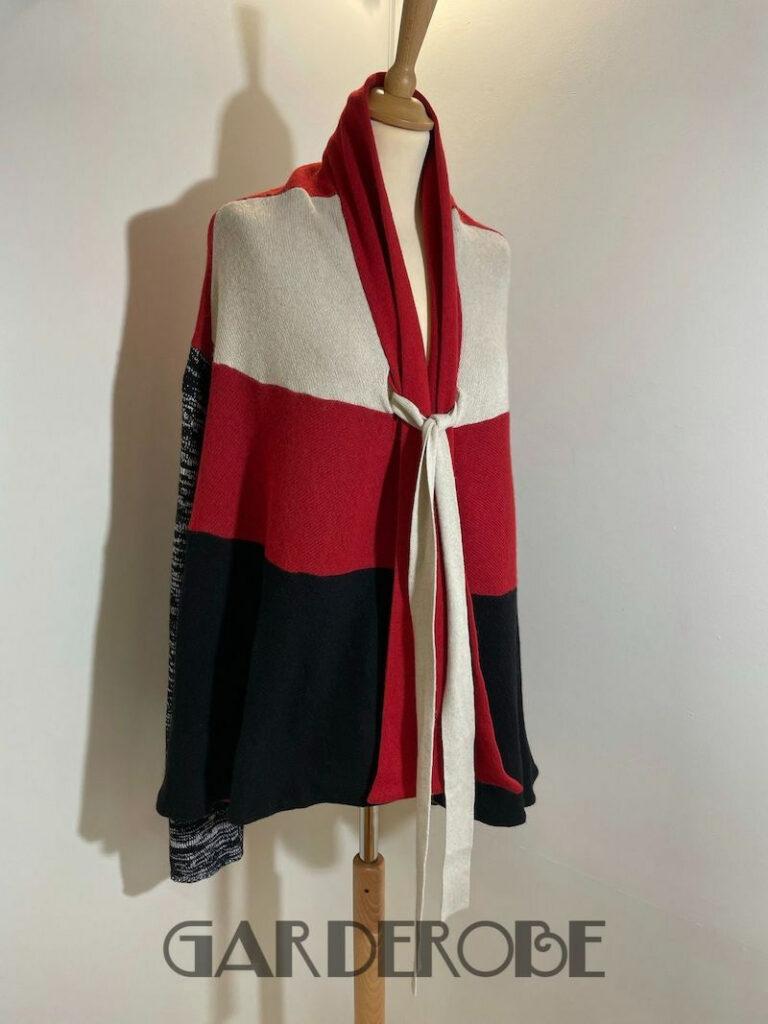 Rood-beige-zwarte Re.Set cardigan
