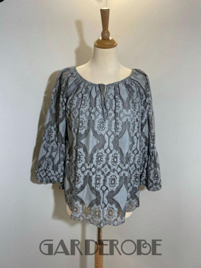 grijsgroene gehaakte bloes